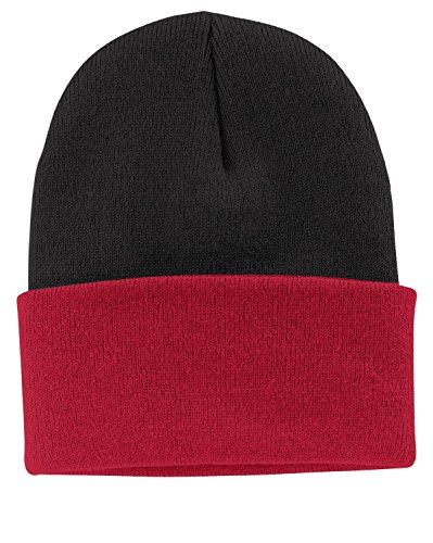(Port & Company - Knit Cap. OSFA Black/Athletic Red)