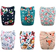 Babygoal Reusable Cloth Diapers for Girls, Adjustable...