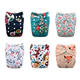 Baby : Babygoal Baby One Size Pocket Cloth Diapers Adjustable Reusable Nappy 6pcs+6 Inserts+One Wet Bag 6YDG08