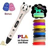 3D Pen with PLA Filament Refills - Dikale 05A【Kitten Shaped Deapesign】3D Drawing Printing Printer Pen Bonus 12 Colors 120 Feet PLA 250 Stencil eBook for Kids Adults (White)