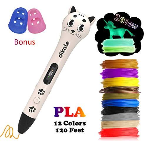 3D Pen with PLA Filament Refills - Dikale 05A【Kitten Shaped Design】3D Drawing Printing Printer Pen Bonus 12 Colors 120 Feet PLA 250 Stencil eBook for Kids Adults Arts Crafts Model DIY, Non-Cloggin