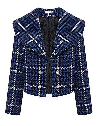 Grazioso Moda Stlie Primaverile Blau Elegante Donna Corto Giaccone Abbottonatura Di Hipster Autunno Houndstooth Lunga Manica Giacca Outerwear Cappotto xq5aYwz