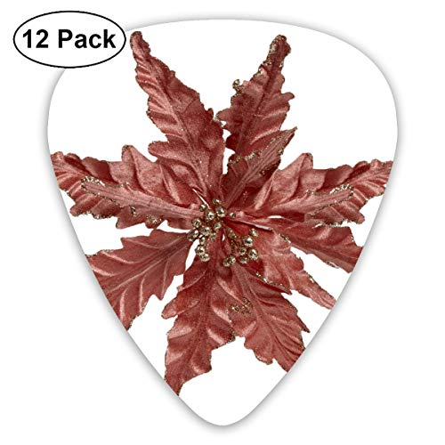 Rose Poinsettia - Christma Poinsettia Turquoise Rose Gold Ultra Light 0.46 Medium 0.73 Heavy 0.96mm Printed Round Flat Soft Plastic Jazz Electric Acoustic Bass Guitar Pick Accessories Variety Pack