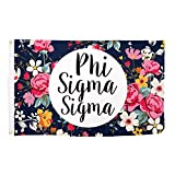 Phi Sigma Sigma Sorority Floral Pattern Letter Sorority Flag Greek Letter Use as a Banner Large 3 x 5 Feet Sign Decor Phi Sig For Sale