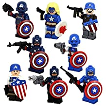 New Cool Mini Toys of the Series of Captain-America Model Play Set Minifigures Building Brick Blocks Toy for Children Kids, 8Pcs/Set ABS Plastic Multi-color