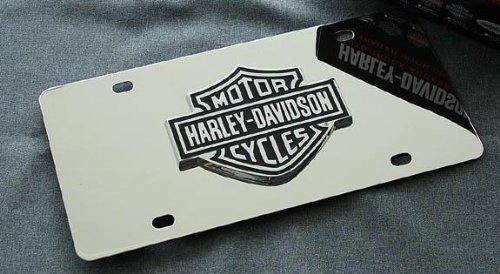 Harley Davidson Black/chrome Logo on Chrome License Plate - Harley Davidson Plates