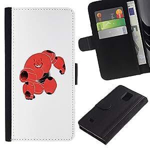 LASTONE PHONE CASE / Lujo Billetera de Cuero Caso del tirón Titular de la tarjeta Flip Carcasa Funda para Samsung Galaxy Note 4 SM-N910 / Cute Red Blood Monster Robot Cell