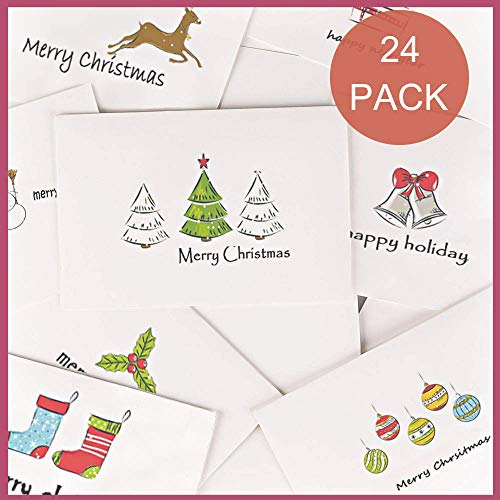 Holiday Card Boxed Set 24, Small Christmas Cards Bulk Cute Xmas Cards, Blank Greeting Cards with Envelopes and Sealed Stickers, Happy Holiday Note Cards 8 Assorted Designs Photo #4