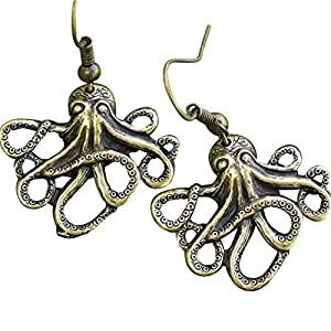 Steampunk Nautical Pirate Octopus Earrings Pendant Charm Dangle in Antique Style