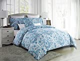 Tahari Bedding 3 Piece Full / Queen Duvet Cover Set Floral Paisley Medallion Pattern in Shades of Blue and Gray on White
