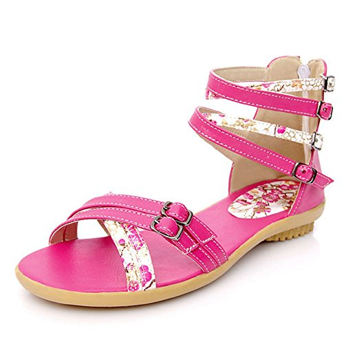 LongFengMa Women's Fashion Strappy Flats Floral Sandals Red H1SG8E