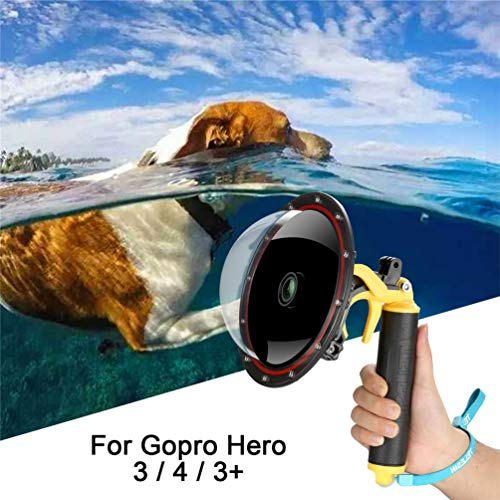 - For GoPro Dome Hero Black 4 3 3+, Dome Port Lens with Transparent Cover,Floating Handle Grip And Pistol Trigger Attached Underwater Photography Waterproof 30M Action Camera GoPro Accessories Housing