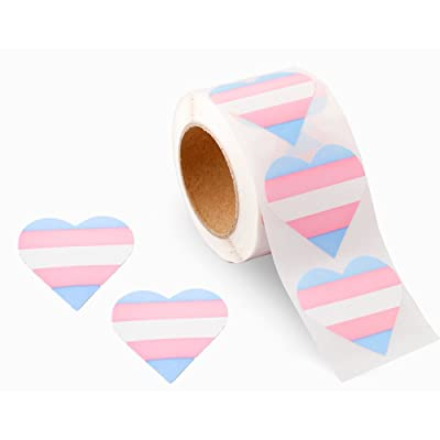Gay Pride - Transgender Pride Heart Stickers (2 Rolls - 500 Stickers)