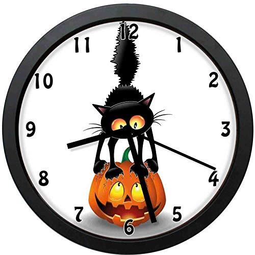 YiiHaanBuy Halloween Decorative Wall Clock,Black Cat on Pumpkin Spooky Coon Characters Halloween Humor-Office,Bedroom,Kitchen,Bathroom,Silent Battery Quartz Wall clock-12 inch]()