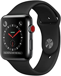 Apple Watch Series 3 (GPS + Cellular, 42MM) - Space Black Stainless Steel Case with Black Sport Band (Renewed)