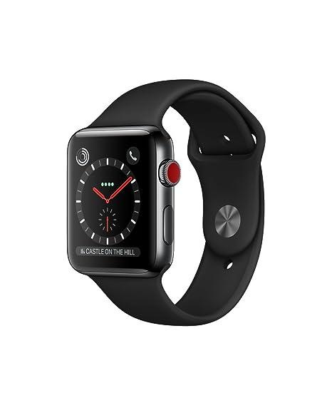 reputable site 2567c 52ad9 Apple watch series 3 Stainless steel case 42mm GPS + Cellular GSM unlocked  (Space black stainless steel case with black sport band) (Renewed)