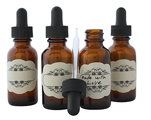 Royal Green 30 ml (1oz) Amber Glass Dropper Bottles + Decorative LABELS for your marking convenience (4 Pack)