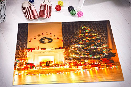 Merry Christmas Season Eve New Year Decorative Decor Gift Stylish Bath Rugs 3D 16x24 Inch Customized Personality Warm Fireplace Tree Lamps Present Box Outdoor Indoor Front Door Mat Non-slip Bath Mat by LB™<p><B>See More Click Here</B>