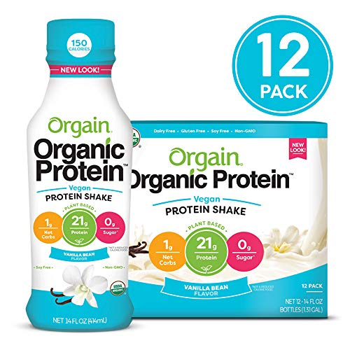 Orgain Organic 21g Vegan Plant Based Protein Shake, Vanilla Bean - Meal Replacement, Ready to Drink, Non Dairy, Gluten Free, Lactose Free, Soy Free, Kosher, Non-GMO, 14 Ounce, 12 Count