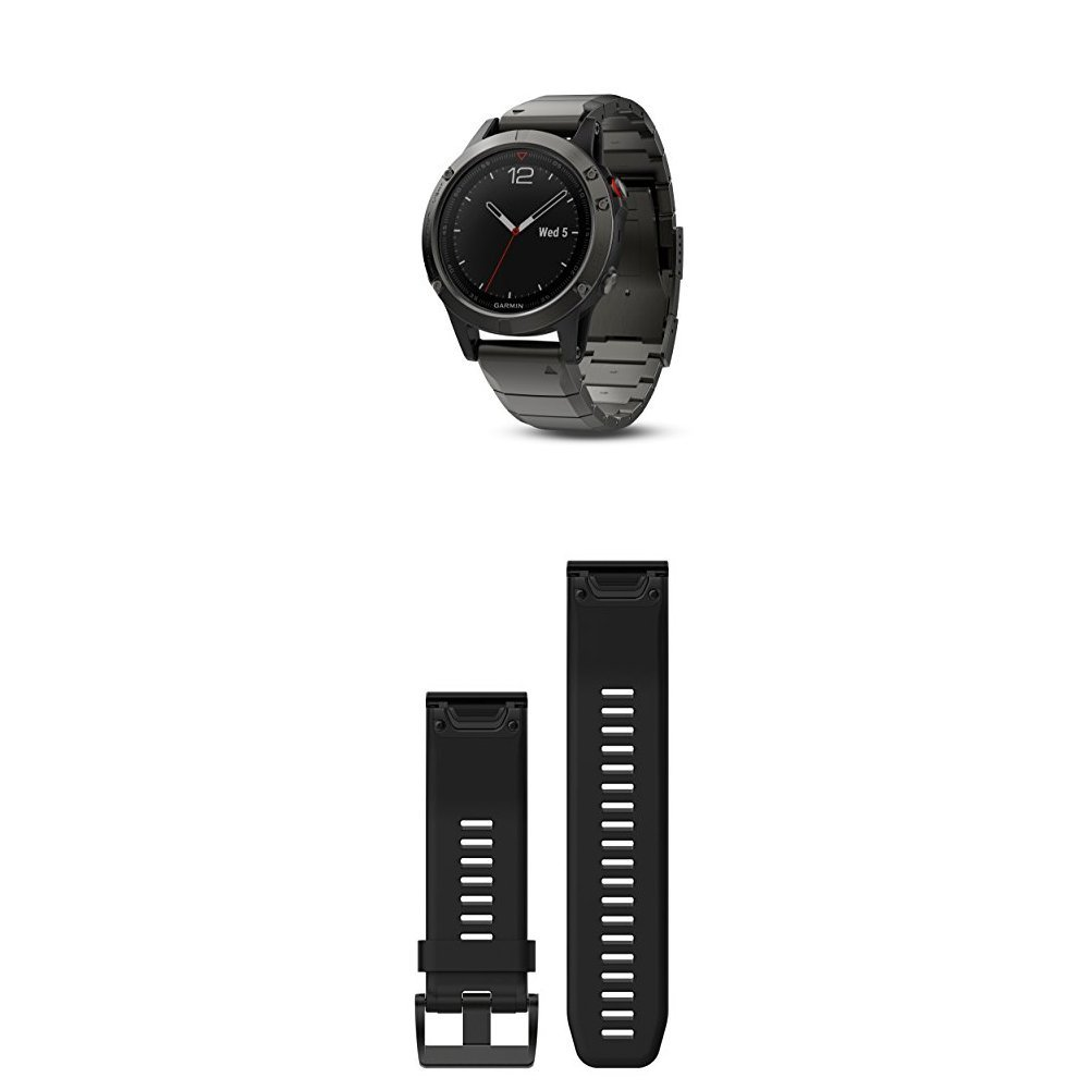 Garmin Fenix 5 Sapphire - Slate Gray with Metal Band and 010-12517-00 Fenix 5X Quick fit 26 Watch Band - black Silicone