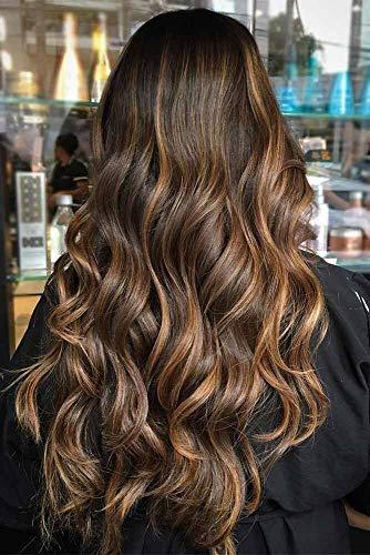 VeSunny 18inch 120g Brazilian U Part Wig Human Hair Naturla Black Root to Dark Brown Highlight Caramel Blonde Clip in U Part Wig Straight Remy Hair for Woman (Medium Dark Brown Hair With Caramel Highlights)