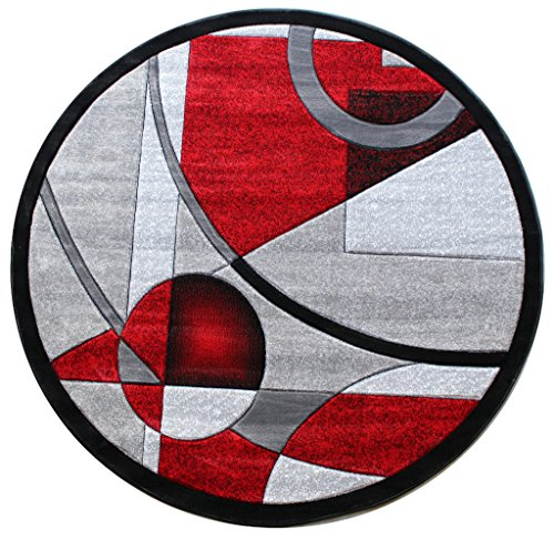 Masada Rugs, Sophia Collection Hand Carved Area Rug Modern Contemporary Red Grey White Black (5 Feet 3 Inch X 5 Feet 3 Inch) Round