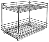 Lynk Professional Roll Out Double Shelves - Pull Out Two Tier Sliding Under Cabinet Organizers - Multiple Sizes