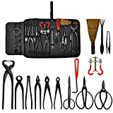 Voilamart Bonsai Tools Kit 14 piece Carbon Steel Scissor Cutter Shear Wire with Case Garden Plant Tool