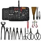 Voilamart 14 Piece Bonsai Tools Kit with Case, Carbon Steel Scissor Cutter Shear Set Garden Plant Tools