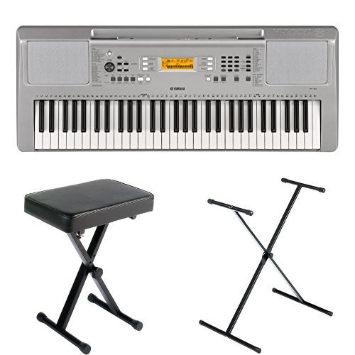 Yamaha YPT-360 Portable Keyboard Bundle with Stand, Bench and Power Adapter