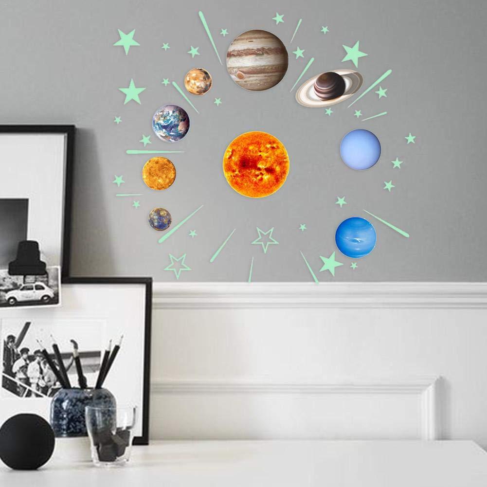 49 piezas Brillan en la oscuridad Estrellas y planetas Pegatinas ...