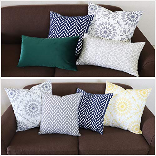 SLOW COW Cotton Embroidery Decorative Throw Pillow Cover Cushion Cover for Couch Sofa Bedroom Geometric Pattern Pillowcase Accent Pillow Cover 18 x 18 Inches Navy Blue