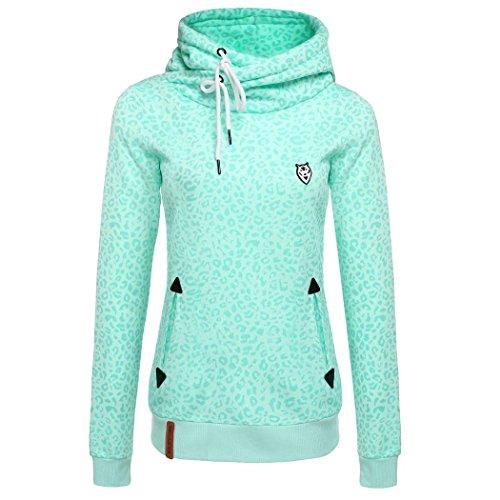 CRAVOG Leopard Druck Damen Sweatshirt Casual Slim Pullover Hoodies Kapuzenpulli