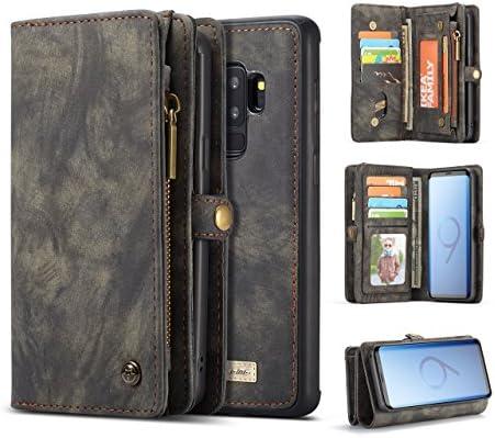 Galaxy S9 Plus Wallet Case,AKHVRS Handmade Premium Cowhide Leather Wallet Case,Zipper Wallet Case [Magnetic Closure]Detachable Magnetic Case & Card Slots for Samsung Galaxy S9 Plus - Black