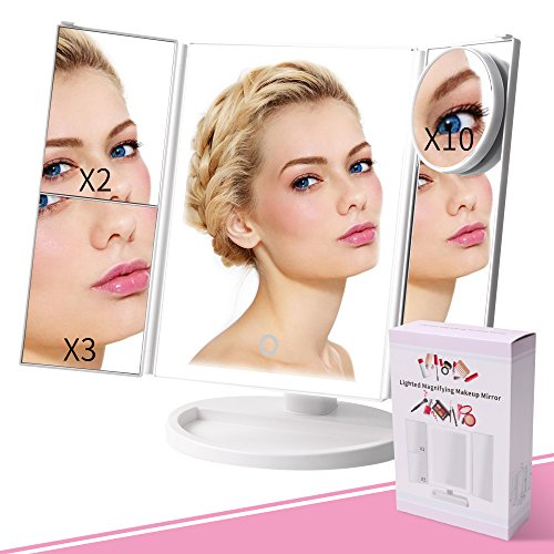 New Upgrade Lighted Makeup Mirror, Portable Travel Vanity Mirror with 4pcs Tape- 36 Lights, 1x/2x/3x/10x Magnification 180°Rotatable Magnifying Mirror for Women/Men/Girls Cosmetic Makeup (Travel Plastic Mirror)