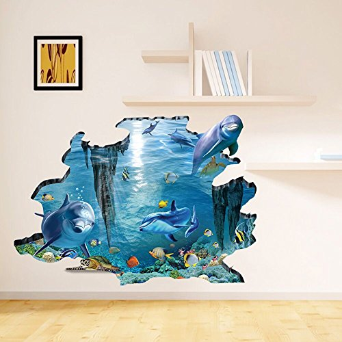 xiaoying Uelfbaby Undersea dolphins photo wall paper - aquarium fish sea mural - XXL undersea underwater world wall decoration (Multicolor) (Murals Underwater Wall)
