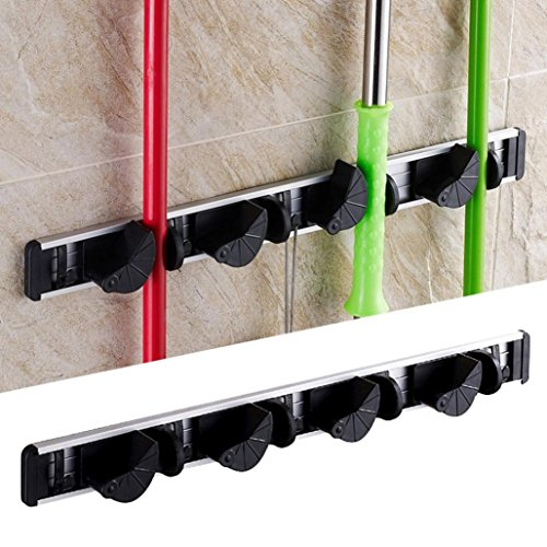 Deco Mop (Mop and Broom Holder(16inch)-Wall Mounted Garden Tool With 4 Friction Grips and 5 Hooks,Tuscom)