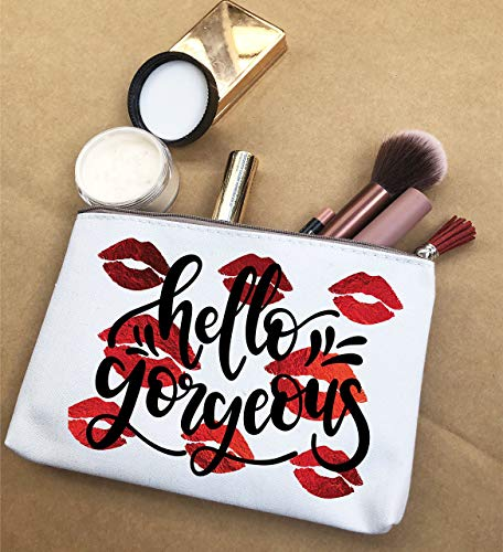 Makeup Bag Hello Gorgeous Funny Canvas Pouches With Zipper by Karybella