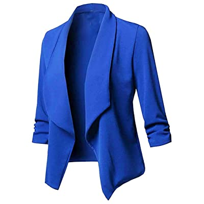 ALOVEMO Womens Solid Open Front Cardigan Long Sleeve Blazer Casual Work Jacket Coat for Women: Clothing [5Bkhe0404722]