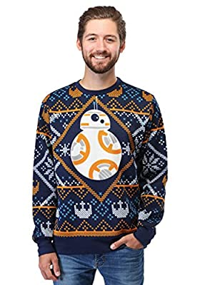 Mad Engine Star Wars BB8 Navy Ugly Christmas Sweater