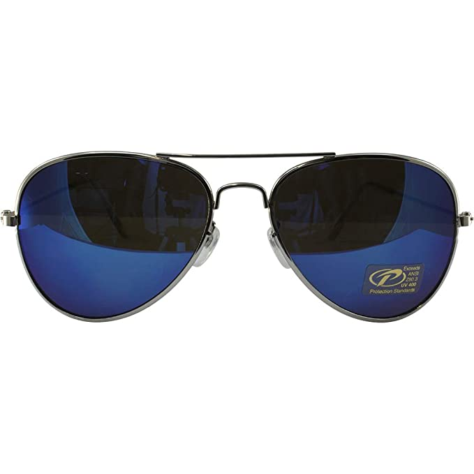 6d505bfd1a Amazon.com  Classic Pilot Aviator Sunglasses Chrome Frames and Blue  Mirrored Lenses  Clothing