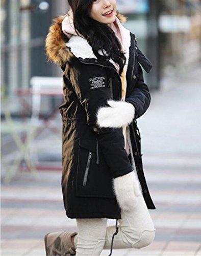 Hooded Men's Lined TTYLLMAO Jackets Black Winter Coats Thicken Fur Warm Faux FO1xESqwx