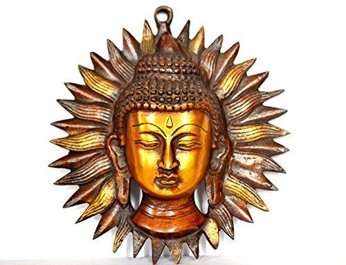 Buddha Meditating Wall Hanging Mask, Vintage Buddhism Buddha Face Wall Sculpture-Indian Metal Wall (Face Wall Art Mask)