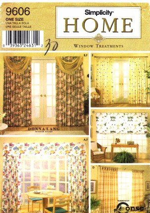 Simplicity 9606 Home Decor Sewing Pattern Drapes Swags Valance Shade Sewing Patterns Drapes