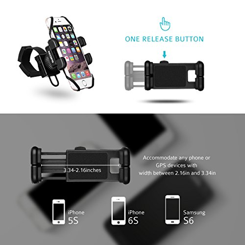 VicTsing Bike Motorcycle Phone Mount, Universal Bicycle Holder for iPhone Android Smartphone GPS Other Devices up to 6 Inches,With One-button Released,360 Degrees Rotatable,Rubber Strap
