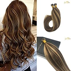 Googoo Highlighted Prebonded Hair Extensions Chocolate Brown mixed Honey Blonde Ombre I tip Remy Stick Hair Extension 50 Strands 1g/s