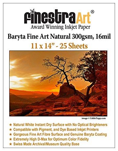 """11 X 14"""" Baryta Fine Art Natural Inkjet Paper 300gsm 25 Sheets"""
