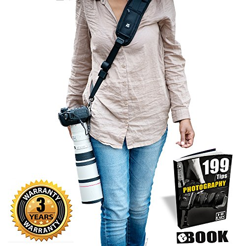 Cameras Straps For Canon,Nikon,Extra Long Neck Strap W/Quick Release and Safety Tether,Perfect for All DSLR included eBook,Lens Cloth,SD Card Case and 3 Year Warranty By HiiGuy