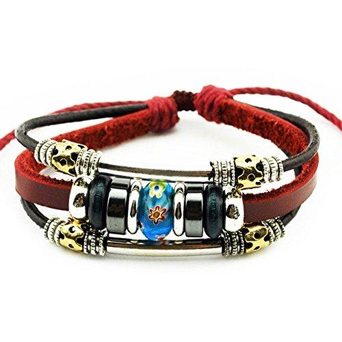 Flowers Blue Bead Multistrand Wine Red Leather Adjustable Bracelet