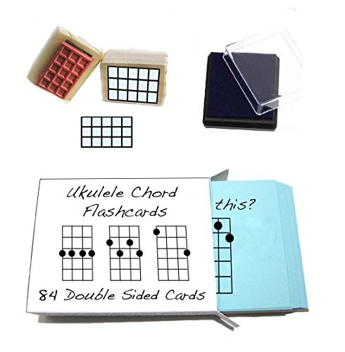 Beginner Ukulele Gift Pack (Chord Flashcards and Ukulele Chord Stamp and Pad) (Chart Song)
